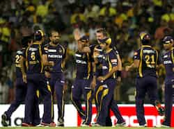 Kolkata Knight Riders players celebrate the dimissal of Chennai Super Kings batsman Murali Vijay during IPL final match at MA Chidambaram stadium  in  Chennai. (HT photo by Virendra Singh Gosain) KKR new T20 champ