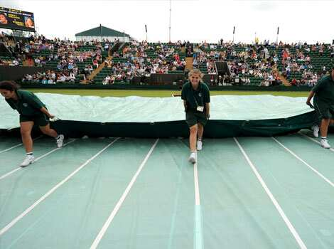 The protective rain covers are pulled off the grass by ground-staff on Court 2 on the second day of the 2012 Wimbledon Championships tennis tournament at the All England Tennis Club in Wimbledon, southwest London. (AFP Photo) Wimbledon: out of focus
