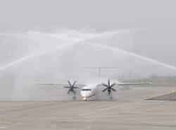 The water tenders giving water salute to Spicejet flight at Shri Guru Ram Dass Ji International Airport in Amritsar on Thursday The SpiceJet started its services from Amritsar-Delhi and Amritsar-Srinagar. Munish Byala/HT photo Region in Pics