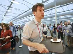 Guests test the 5,000 capacity Olympic Village dining room, a temporary structure built for the London 2012 Olympic Games in Stratford, east London. The village will accomodate up to 16,000 athletes and officials from more than 200 nations. Reuters/Olivia Harris  Olympic village in London