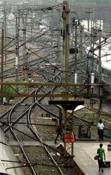 Empty railway tracks are seen following a power failure at New Delhi railway station, in New Delhi. The electricity grid across northern India failed leaving hundreds of millions of people without electricity in one of the worst power failures of the past decade, officials said. AP Photo/Rajesh Kumar Singh North India powerless