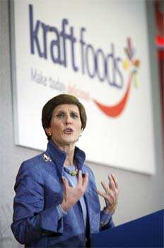 Kraft Foods Inc CEO Irene Rosenfeld speaks at the company