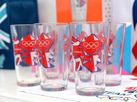 London 2012 Olympic glasses are displayed at the largest pop-up store in Hyde Park, London. AFP/Miguel Medina Take Olympics home!