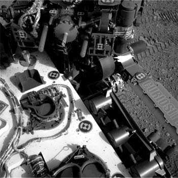 This image released by NASA shows tracks made by Curiosity