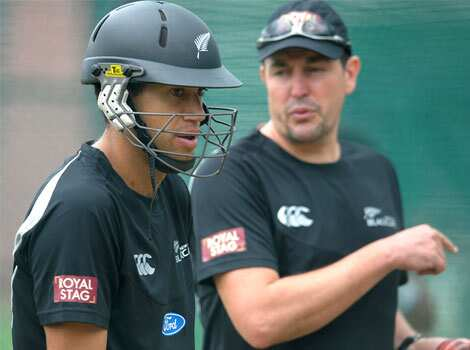 New Zealand captain Ross Taylor (L) waits for his turn to bat during a training session on the eve of the first Test match against India at the Rajiv Gandhi International cricket stadium in Hyderabad. AFP/Noah Seelam NZ team trains in Hyderabad