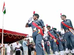 NCC cadets during a march past on the occasion of Independence Day celebrations at PAP campus in Jalandhar on Wednesday. (Pardeep Pandit/HT photo) Region in pics