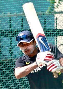 Subramaniam Badrinath bats during a practice session in Hyderabad before the two test cricket series between India and New Zealand. AP/Mahesh Kumar A India, New Zealand prepare for showdown