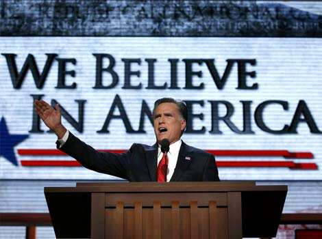 Republican presidential nominee Mitt Romney accepts the nomination during the final session of the Republican National Convention in Tampa, Florida. (Reuters/Adrees Latif) Day in pics