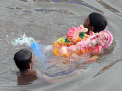 Devotees swim with an idol of Lord Ganesha in an artificial pond, dug for the ongoing Ganesh Chathurthi festival to help control pollution and waste, along the banks of the Sabarmati river in Ahmedabad. AFP photo Farewell Ganesha!