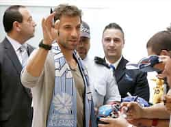 Italy and former Juventus soccer player Alessandro Del Piero, waves to fans after he arrived Sydney airport. Del Piero arrived in Sydney on Sunday to begin his two years with Sydney FC in the A-League. Reuters photo Sept 16: Day in pics