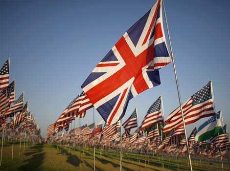 A British flag is seen among flags flying at Pepperdine University in honor of the victims of the 9/11 attacks in Malibu, Calif. One flag from the nationality of each person killed that day was erected.  (AP Photo/David McNew) Remembering 9/11 attack victims