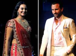 Groom-to-be Saif Ali Khan and earthy beauty Sonakshi Sinha were seen at their traditional best as they walked at the Aamby Valley India Bridal Fashion Week 2012. Take a look. BRIDAL FASHION: Saif-Sonakshi walk the ramp