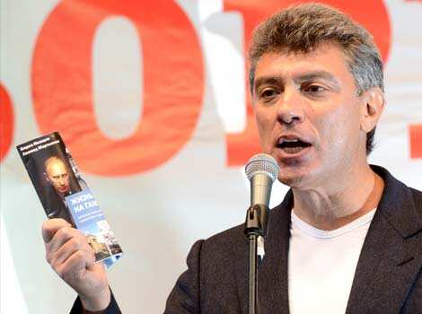 Russian opposition leader Boris Nemtsov, speaks during an anti-Putin protest in central in Moscow. Thousands marched through Moscow to protest against the rule of Vladimir Putin in a test of the opposition