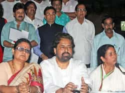 West Bengal chief minister Mamata Banerjee with party leaders interacts with media at the end of party emergency meeting in Kolkata. (PTI Photo by Swapan Mahapatra) Mamata pulls the plug