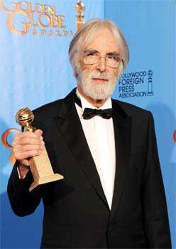 Filmmaker Michael Haneke, winner of Best Foreign Language Film for Amour, poses during the 70th Annual Golden Globe Awards held at The Beverly Hilton Hotel on January 13, 2013 in Beverly Hills, California. (Kevin Winter/Getty Images/AFP Photo) Hollywood galore at Golden Globes