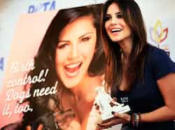 Sunny Leone talks about birth control at a PETA campaign in Mumbai on Thursday. (Photo by Saroj Kumar Dora/HT) CAUGHT CASUAL: Sunny Leone at PETA event
