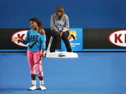 Serena Williams of the US gestures during a practice session at Melbourne Park, ahead of the Australian Open tennis tournament. Reuters photo Jan 9: Day in pics