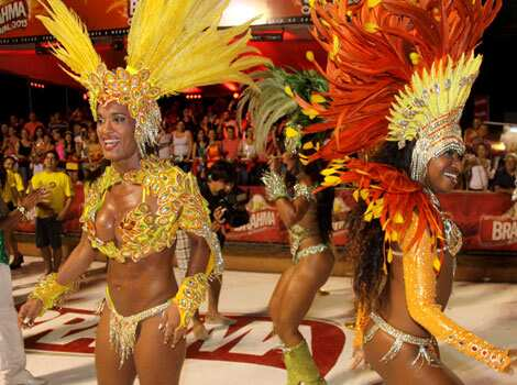 "Dancers from San Clemente samba school in Rio de Janeiro, Brazil show off their moves as they participate in the ""Llamadas"", Paraguay"