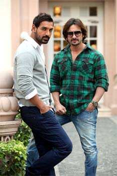 John and Saif were in Delhi to promote their upcoming film Race 2. BROODING HUNKS! John Abraham-Saif Ali Khan promote Race 2