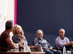 Ashok Ferrey along with Deborah Moggach, Gary Shteygart and Manu Joseph at the Jaipur Literature Festival in Rajasthan. HT/M Zhazo JLF: Day two of cultural curry
