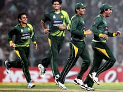 Pakistani players celebrate the fall of a wicket during the second ODI cricket match against India at Eden Garden in Kolkata. PTI/Ashok Bhaumik 2nd ODI: Pakistan beat India