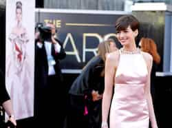 Actress Anne Hathaway arrives at the Oscars at the Dolby Theatre on Sunday Feb. 24, 2013, in Los Angeles. AP Photo THE OSCARS: divas go strapless