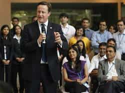 British Prime Minister David Cameron interacting with HUL employees at HUL campus in Mumbai. HT Photo UK PM visits India