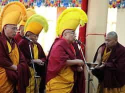 Exiled Tibetan monks usher in the Tibetan New Year or Losar with ritual prayers at the Tsuglagkhang temple in Dharamsala on Sunday. Shyam Sharma/HT Tibetans welcome New Year
