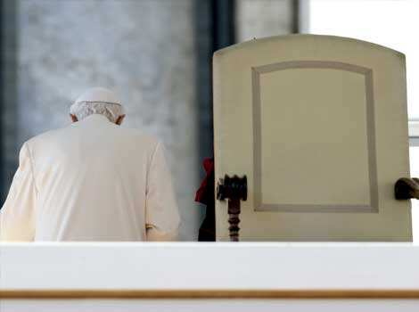 Pope Benedict XVI leaves after celebrating his last general audience. Benedict will be whisked off by helicopter to the papal summer residence of Castel Gandolfo near Rome after he steps down. AP/Gregorio Borgia The last sermon