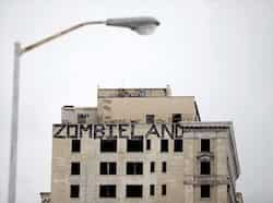 Graffiti covers an abandoned building in Detroit, Michigan. (AFP) Feb 25: Day in pics
