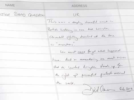 British Prime Minister David Cameron's comments on the visitor's book after paying homage to the martyrs of 1919 Jallianwala Bagh Massacre at Jallianwala Bagh, during Amritsar visit. HT photo David Cameron at Jallianwala Bagh