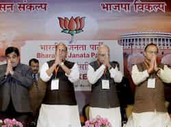 BJP president Rajnath Singh with party leaders LK Advani, Arun Jaitley and Nitin Gadkari at the party