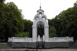 "The Dzerkalnyi Strumin (literally ""Mirror Stream"") fountain was erected in Pobedy Park (""Victory Park"") in 1947. Photo: AFP Euro 2012: things to see in Ukraine"