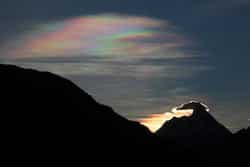 Sunrise on Nanda Devi with rainbow colours in the sky Photo: Ashok Dilwali Swami Kartik Temple