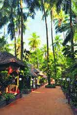 The bamboo huts in the beach town of Varkala offer a cool getaway. Photo by Nitin Chaudhury, see story   kerala