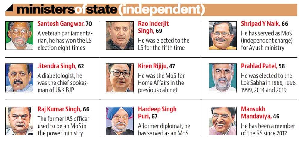 Mix of old and new faces in Prime Minister Modi's NDA 2 0